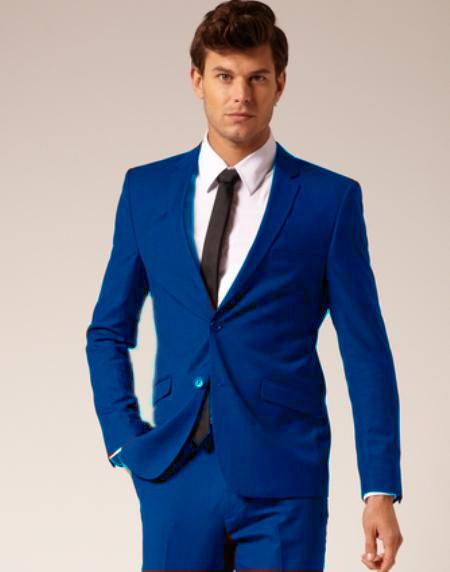 Mens Royal Blue and Light Blue Fashion Suits