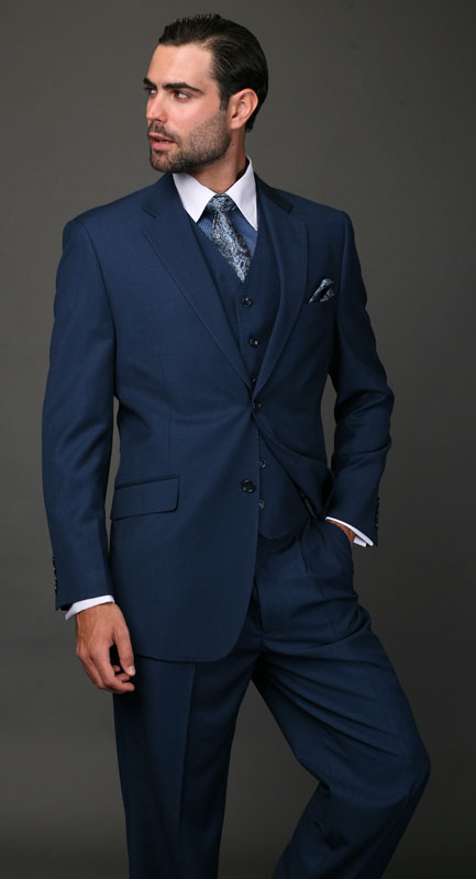Classic 3pc 2 Button Mens Dress Suits for Men Solid Cobalt ~ Indigo ~ Bright Blue Darker Than Royal Blue