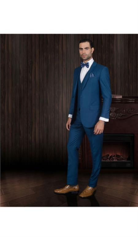 Lorenzo Extra Slim Fit 3pc 2 Button Wool Dress Suits for Men Blue Darker Than Royal Blue (Buy Wholesale 10PC&UP of this for $90)