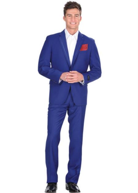 Men's 2 Button Royal Blue Tuxedo Dress Suits for Men Jacket & Pants With Trim