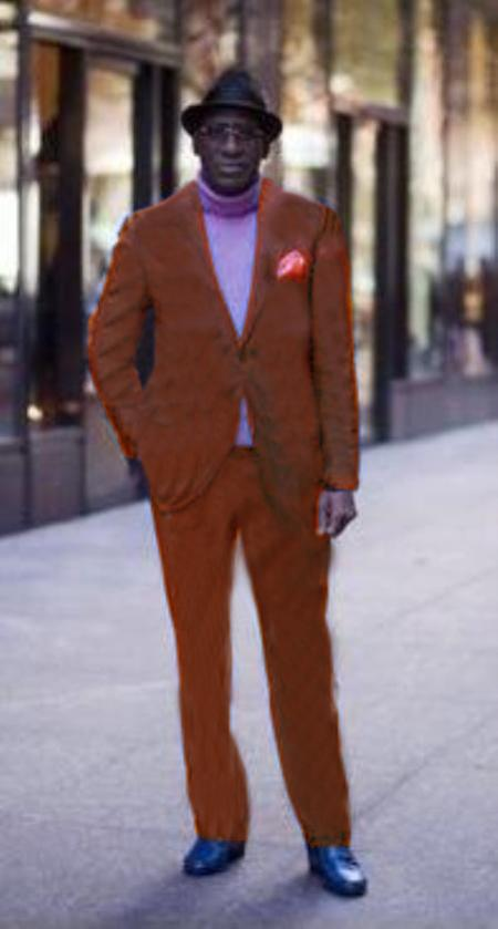 Classic Ultra Smooth 2 Button Wool & Cotton Suit Copper ~ Rust