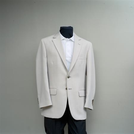 SKU#QQX7 Mens 2 Button Blazer Sand with brass buttons sportcoat