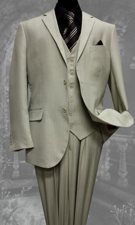 2 Button Vested 3 Piece Tan Beige Pinstripe Suit