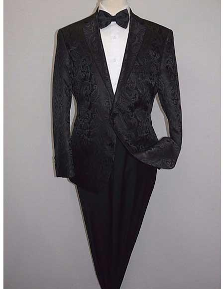 Mens Shiny 2 Buttons Notch Collar Floral Paisley Formal Black Blazer
