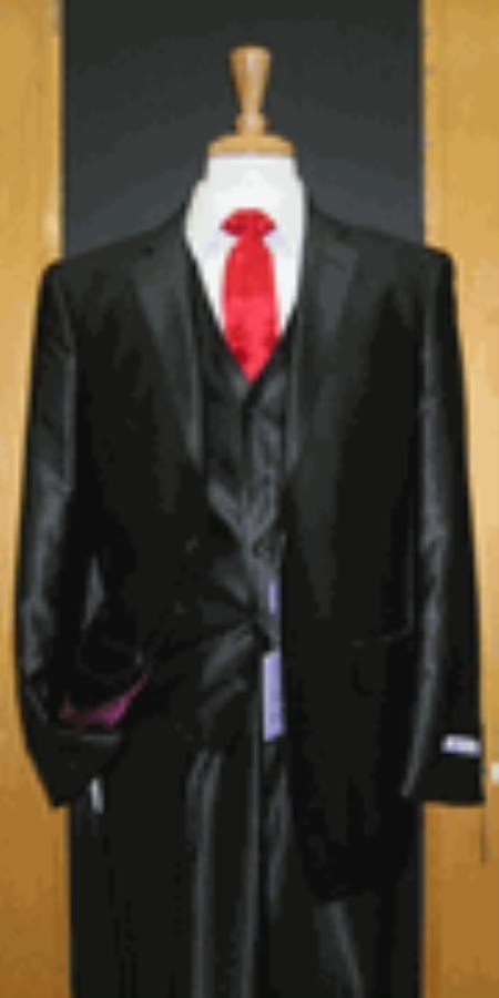 2 Button 3 Piece Shiny Black Silk Blend Flat Front Mens Sharkskin Suit