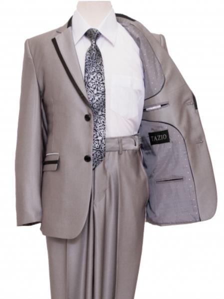 2 Button Kids Sizes Front Closure Boy's Suit Perfect for toddler Suit wedding  attire outfits Silver