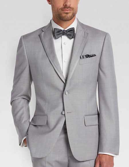 Men's Light Silver Gray Slim Fit Tuxedo Trimmed Lapel Suit 2 Buttons
