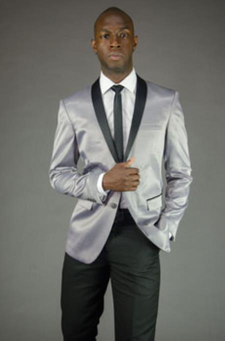 Men's  Silver Grey ~ Gray  Slim Fit Black Lapel Two toned Fashion For Men