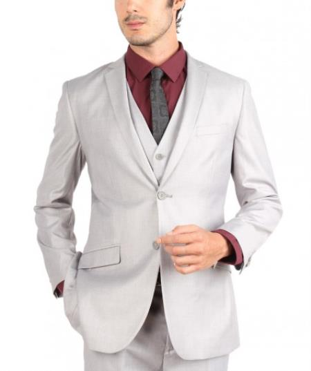 Mens White 2 Button 3 Piece Sinlge Breasted Slim Fit Suit