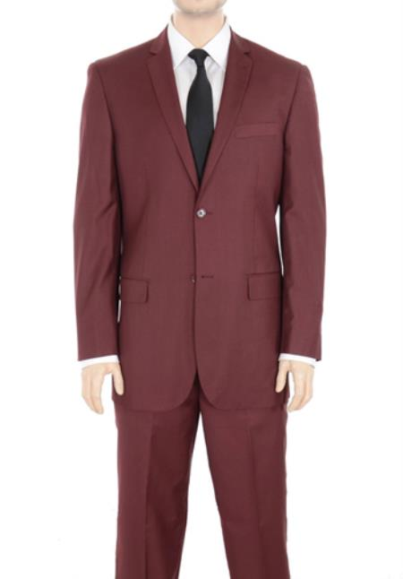 Two Button 2 Button Style Cheap Business Suits Clearance Sale Solid Burgundy ~ Wine ~ Maroon Suit Slim Fit No Pleated pants side Vented