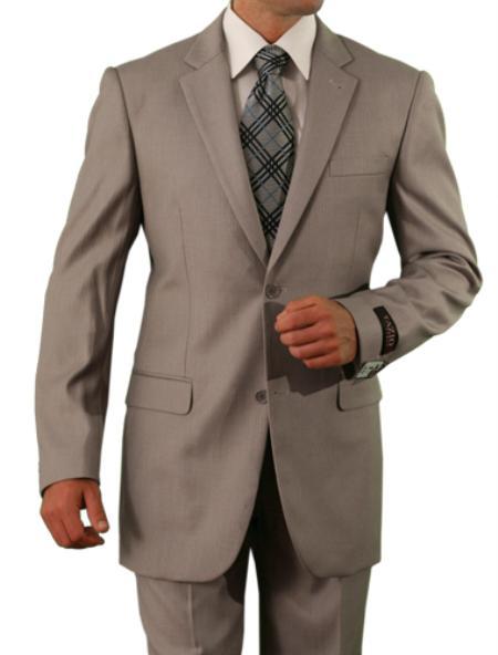 Men's 2 Button Tan ~ Beige ~ Sand Slim Fit Suit