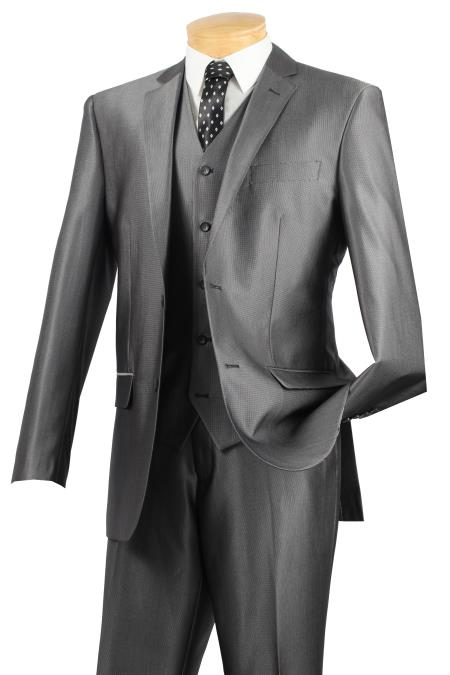 2 Button patterned Solid 3pcs Slim Fit Suit with vest – Gray - Three Piece Suit