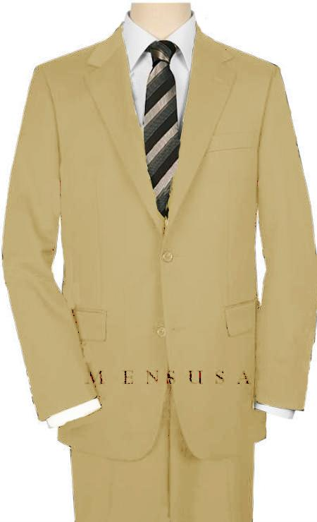 High-Quality 2 Button Tan ~ Beige Suit Wide Leg 22 Inch Pleated Pants  Side Vented Jacket
