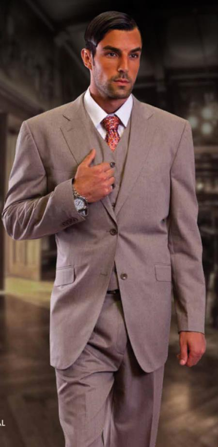 SKU#TYU699 Classic 3 Piece 2 Button Solid Tan ~ Beige ~ Taupe Suit Super 150S 1 Pleat Pants Italian Fabric Vested Suit