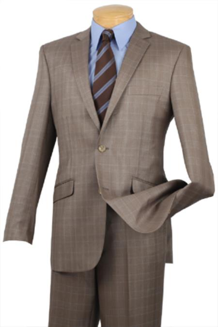SKU#TAN800 Single Breasted 2 Button Slim Fit affordable suit online sale Tan ~ Beige Plaid ~ Windowpane pattern