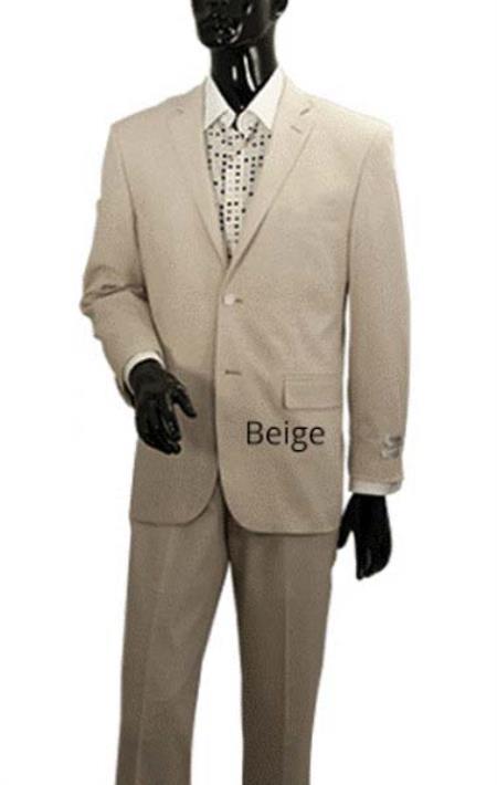 Men's Light Tan Sand Stone Beige 2 Button Linen Summer Suit Jacket + Pants