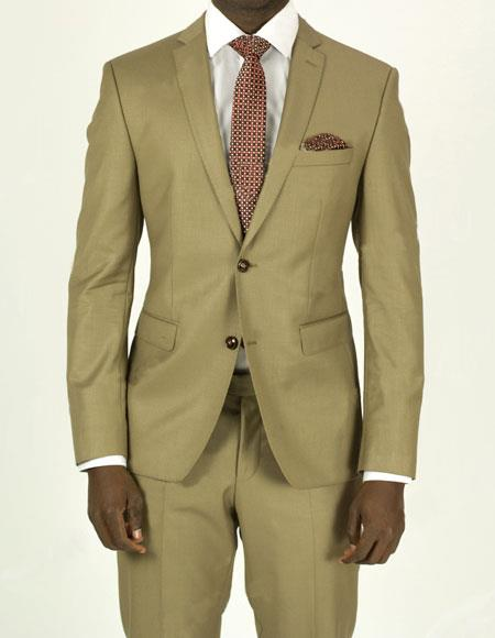 Buy EFTR-612 Mens Pick Stitched 2 Button Slim Fit Skinny Tan Suit