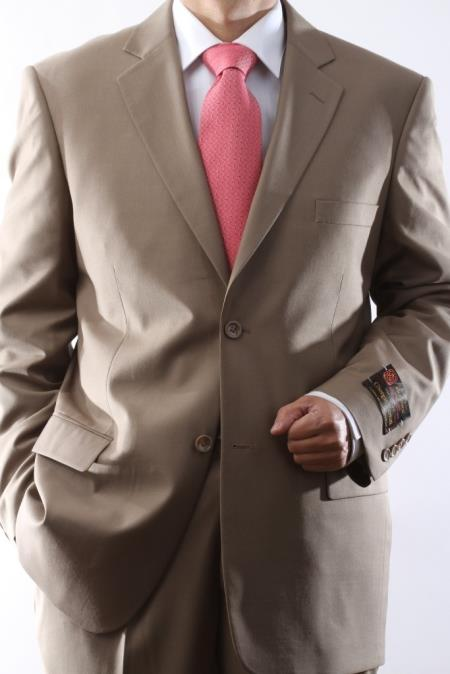 Mens 2 Button Tan ~ Beige Dress Suit with Flat Front Pants Affordable - Discounted Priced On Clearance Sale - Three Piece Suit