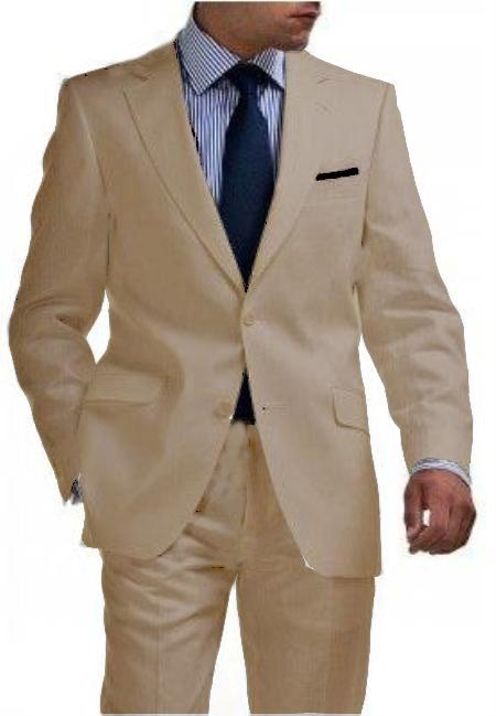 SKU#WTX_Linen-2BV Mens & Boys Sizes Light Weight 2 Button Tapered Cut Half Lined Flat Front Linen Suit Vented Tan ~ Beige