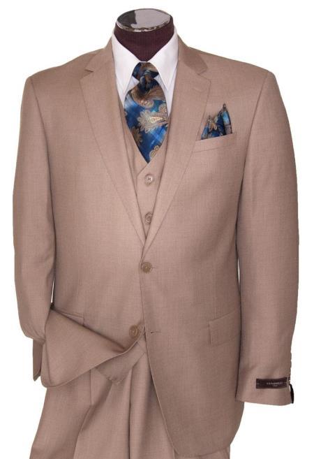 Men's 2 Button Tan ~ Beige Regular Basic Cut Flat Front Pants Three Piece Suit