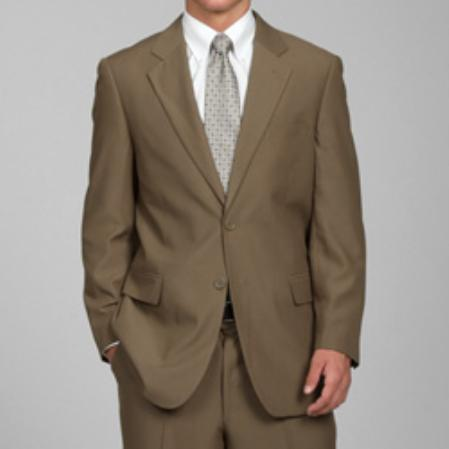 Lusso Mens Taupe 2-Button