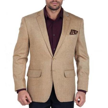 Buy AA359 Mens Solid 2 Button 100% Wool Blazer brass buttons Mens Jacket Sport Coat Taupe Herringbone Tweed