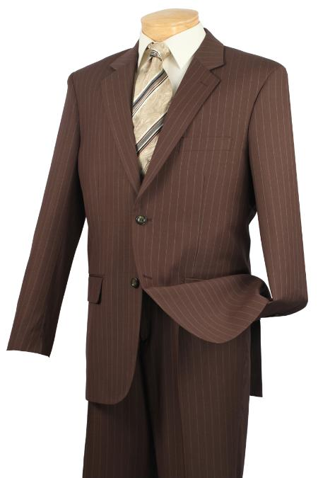 Notch Collar Pleated Pants Executive Classic Stripe ~ Pinstripe Toffee Suit 2RS-16