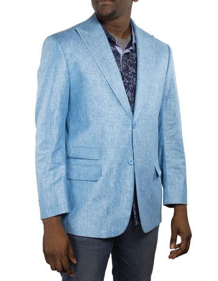 Alberto Nardoni Brand Men's One Ticket Pocket Thread & Stitch 100% Linen Blazer Turquoise