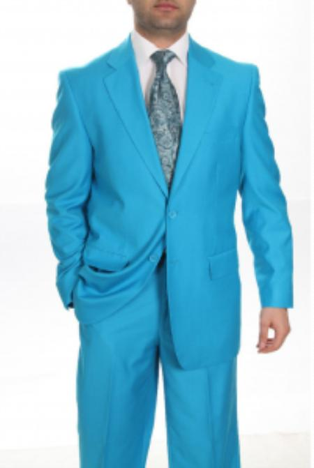 Mens Two Button turquoise Blue Color Affordable Cheap Priced Mens Dress Suit For Sale