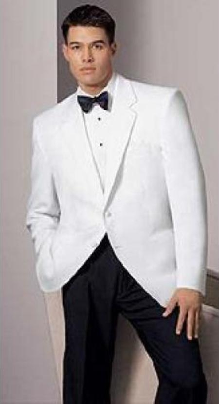 For a classic James bond look, pair up your white jacket with a black pair of trousers, add a black cummerbund and bow tie to create a white and black tuxedo look, which is smart but also striking. Alternatively, plump for white trousers and a neck scarf to create a far more modern look.