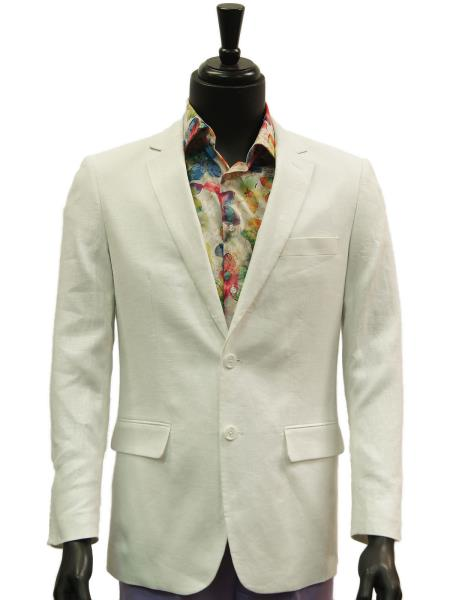 Alberto Nardoni Brand Mens Notch Lapel 2 Buttons White Single Breasted Linen Casual Sportcoats