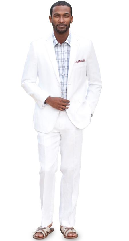 SKU#UL4D 2 Button Solid Linen Suit - White Mens & Boys Sizes