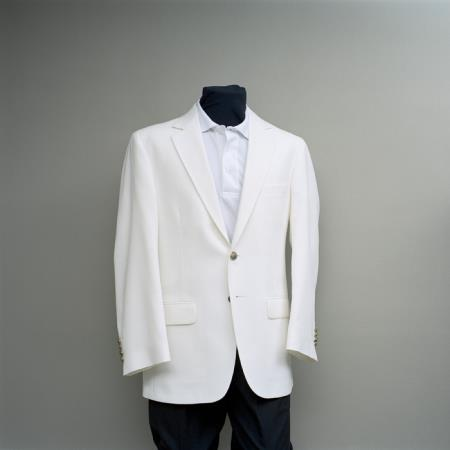 SKU#REV3 Mens 2 Button Blazer White with brass buttons sportcoat