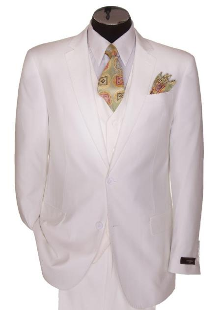 Mens 2 Button White Regular Basic Cut Flat Front Pants Three Piece Suit