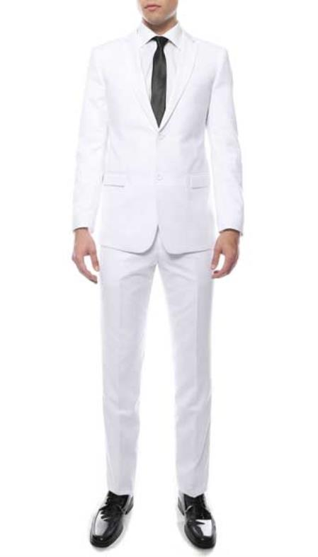 Men's 2 Button Slim Fitted White Zonettie Suit