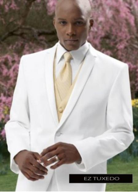 SKU#Fer_TX_2 2 Button Style White Tuxedo Suit + Tux Shirt & Bow Tie With Any Color Optional Color Vest & Tie Pacakge Deal
