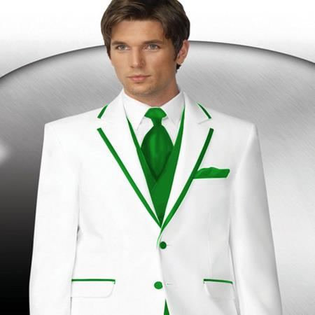 SKU#PN84 Mens 2 Button Style White Tuxedo With lime mint Green Trim Collar + Matching Vest & Tie & Pants