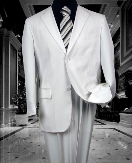 SKU#MRS456 TS02 MENS SOLID COLOR WHITE 2 BUTTON WOOL FEEL 2PC SUIT BY:FITTED SLIM FITC CUT PAUL SUPER 130'S EXTRA FINE