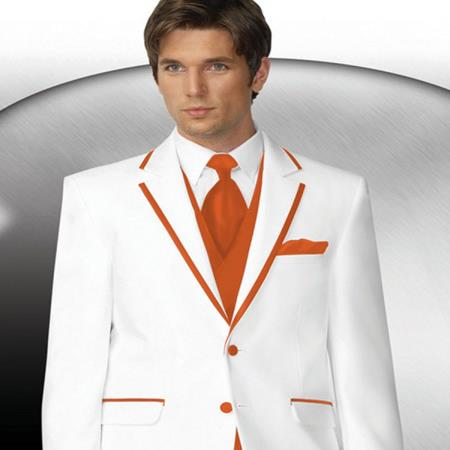 Mens 2 Button Style White Tuxedo With Orange Trim Collar + Matching Vest & Tie & Pants