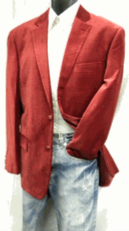 SKU#HW4501 Mens 2 Button Mens Wine Velvet Blazer Coat