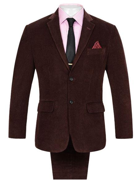 Men's 2 Buttons  Corduroy Wine Suit Single Vent