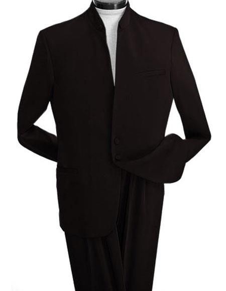 Buy M7821GA Mens Black 2 Buttons Banded Collar Mandarin Suits 100% Wool Jacket & Pleated Pants Nehru Style