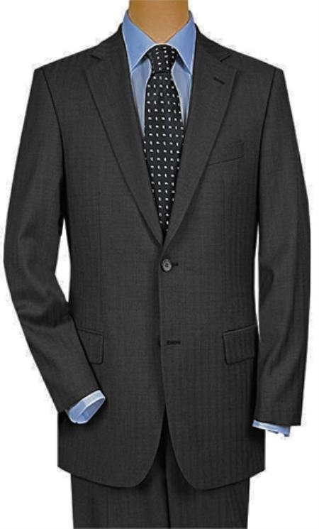 2 Button Super 150s Wool Luxury Gray Shadow Stripe ~ Pinstripe 2 Piece Suits - Two piece Business suits Suit