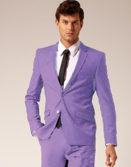 Men's 2 Button Style Wool & Cotton Suit Flat Front Pants Lavender