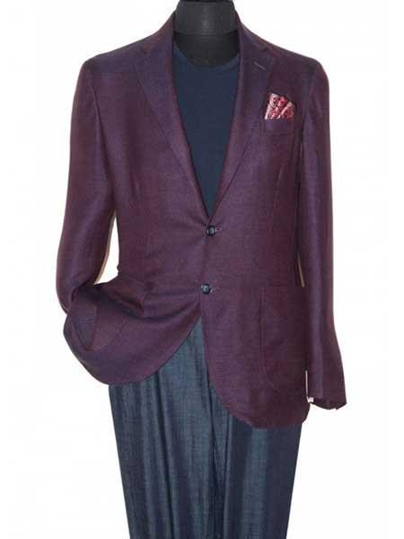 Buy SM1248 Men's Eggplant 2 Button Notch Lapel Single Breasted Wool Sportcoat Blazer