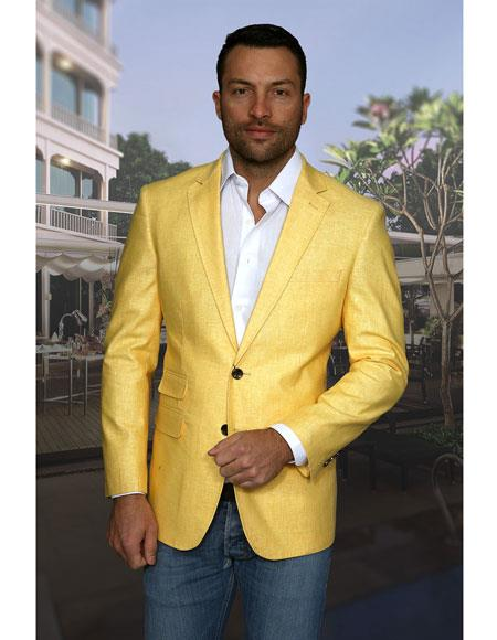 Mens Yellow 2 Buttons 100% Linen Cheap Priced Designer Fashion Dress Casual Blazer For Men On Sale Sport Coat Blazer