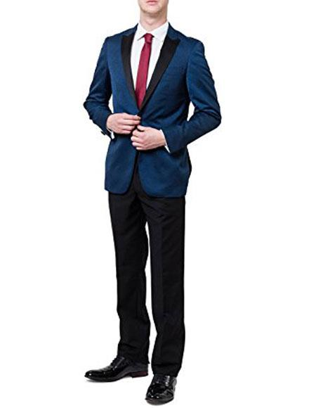 Mens Two Toned Peak Lapel Regular Fit Two Piece Blue Tuxedo Suit Black Lapel Free Black Pants