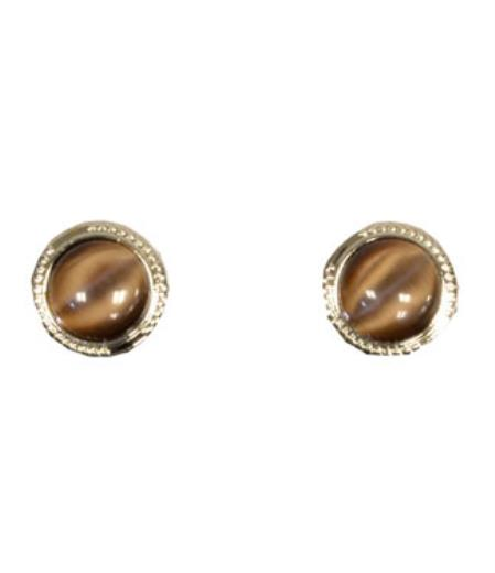 Buy CS009-S Ferrecci Silver/Brown Favor Cuff Links 2pieces Set Fancy Gift Box
