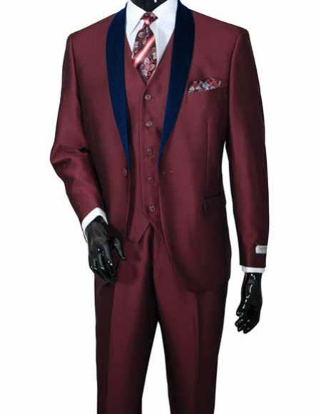 Mens 2 Piece Two Toned Shawl Lapel Vested Burgundy ~ Wine ~ Maroon Color Sharkskin Shiny Dark Navy Blue Lapel Suit