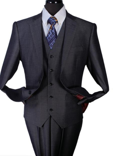 Mens Two Piece Taylor Fit 100% Wool Suit Charcoal - Color: Dark Grey Suit